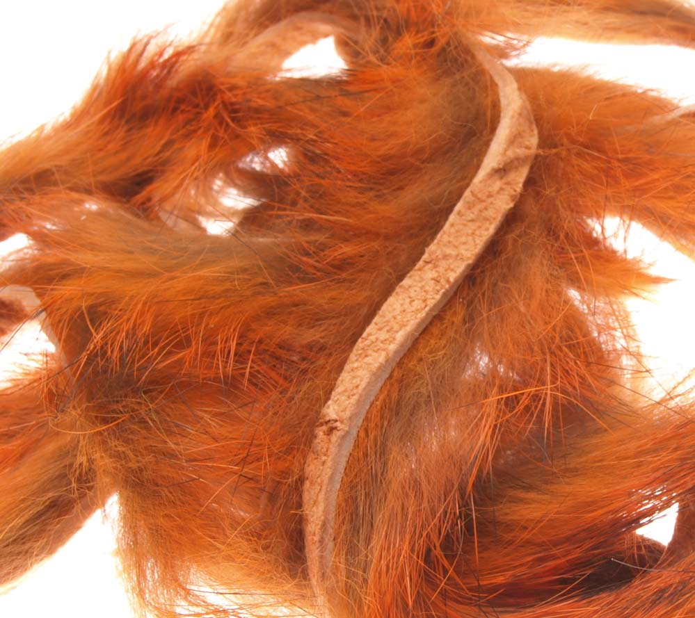 Image of   3 mm kanin zonker strips crawfish orange