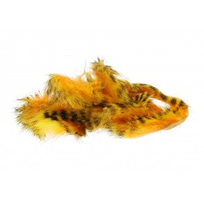 Tiger Barred Rabbit Strips - Black Barred Yellow/Hot Orange