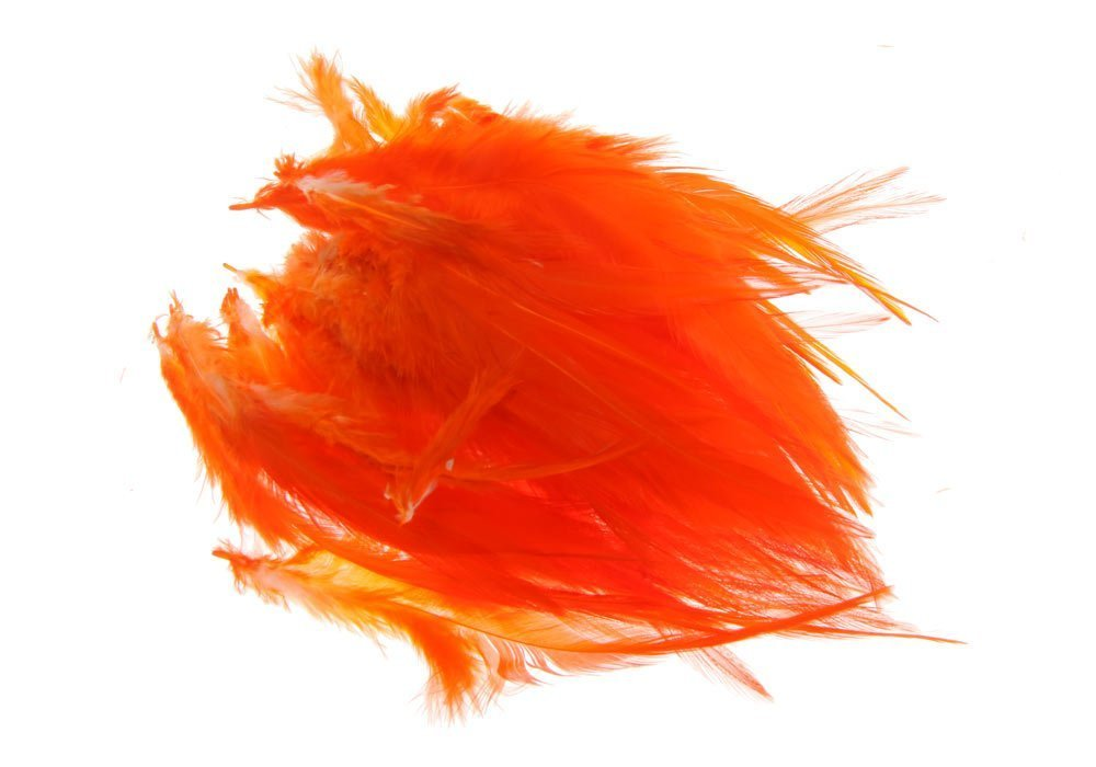 Image of   Saddel hackler på strung - hot orange