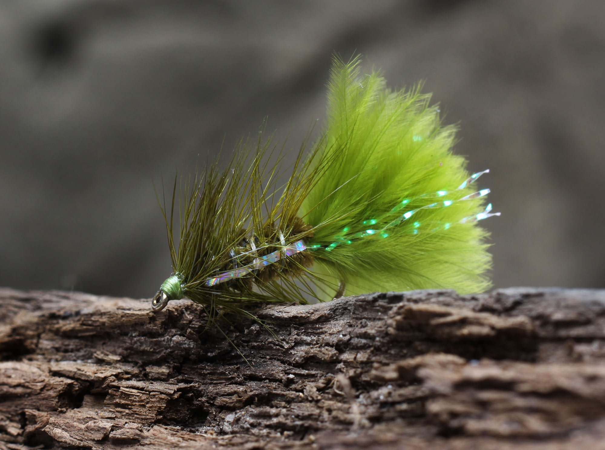 Put & take flue - small dredger olive/chartreuse thumbnail